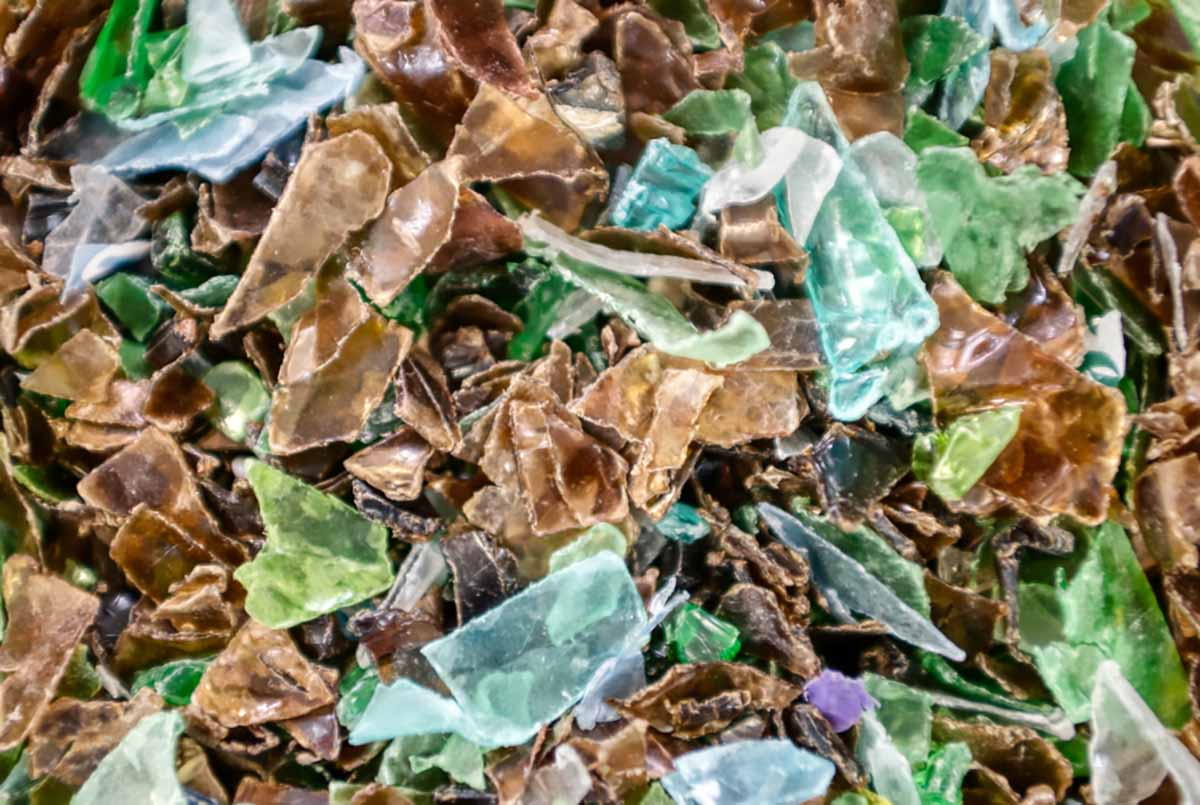 Multicolored PET bottle flakes for recycling.