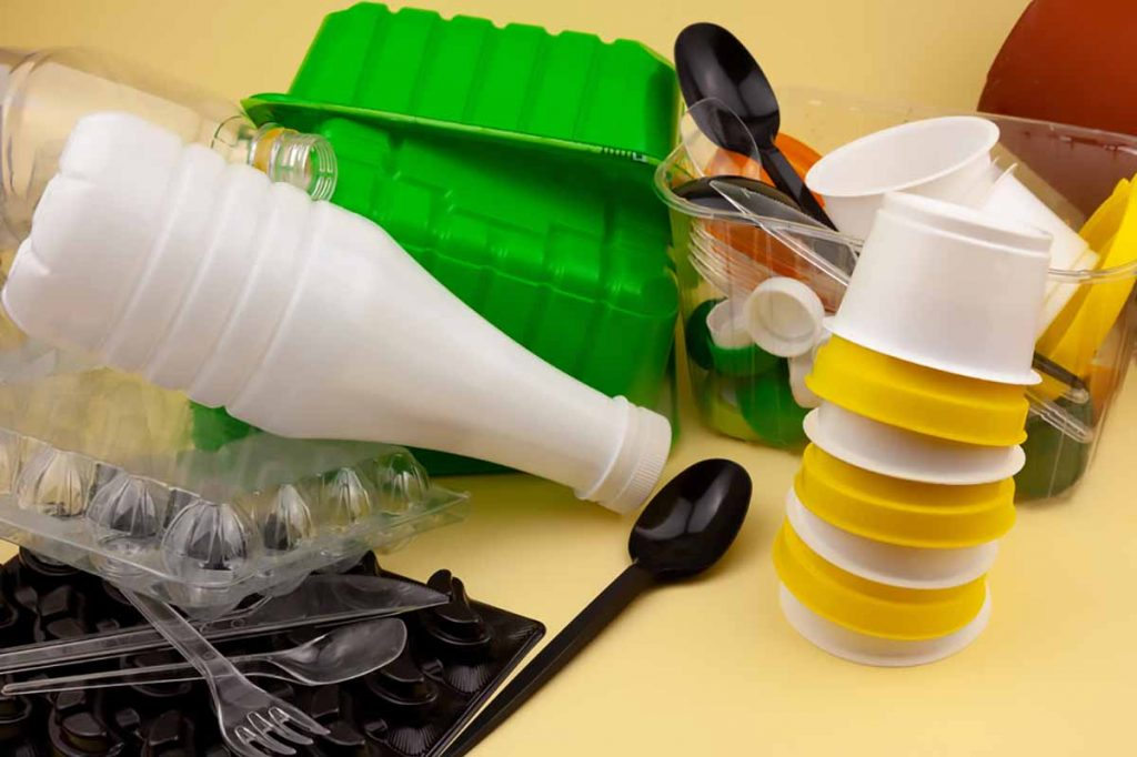 Mixed household plastics for recycling.
