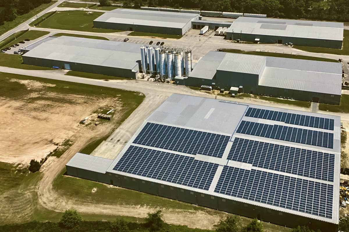Aerial view of PolyQuest's facility in Darlington, S.C.