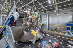 Conveyor inside a recycling facility.