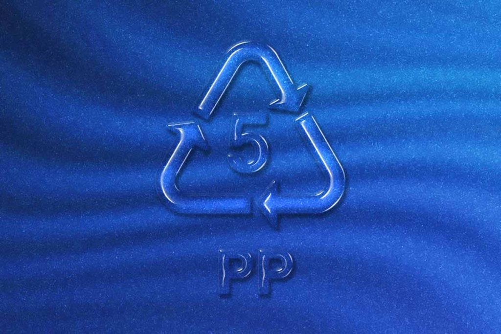 PP Number 5 plastic with blue background.
