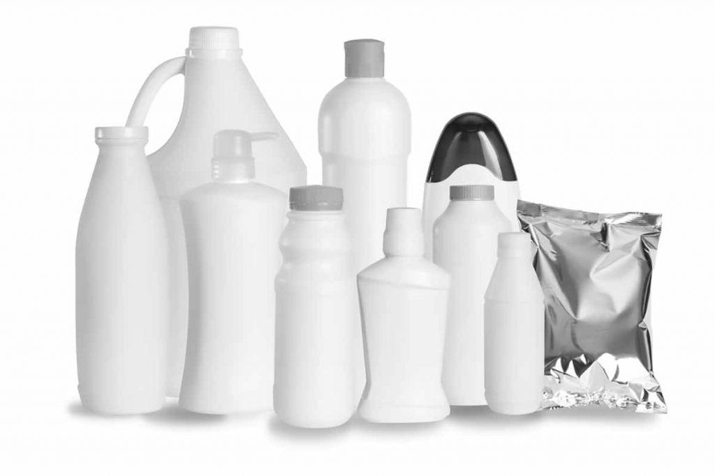 Plastic packaging samples on white background.