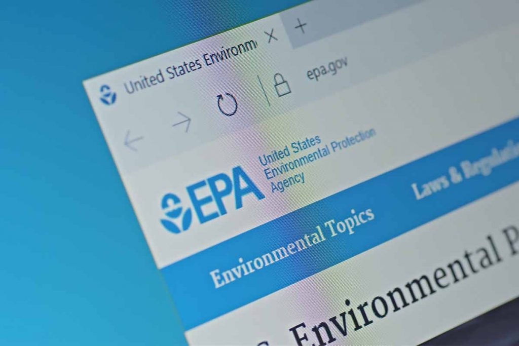 View of U.S. EPA website on screen.