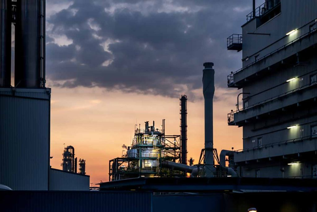 LyondellBasell facility with sunset in background.