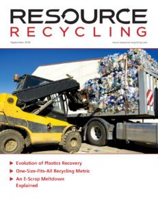 Resource Recycling magazine, Sept. 2016