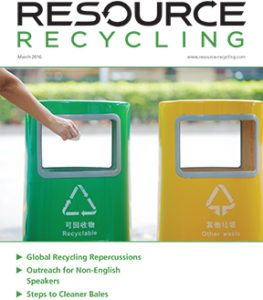 Resource Recycling magazine, March 2016
