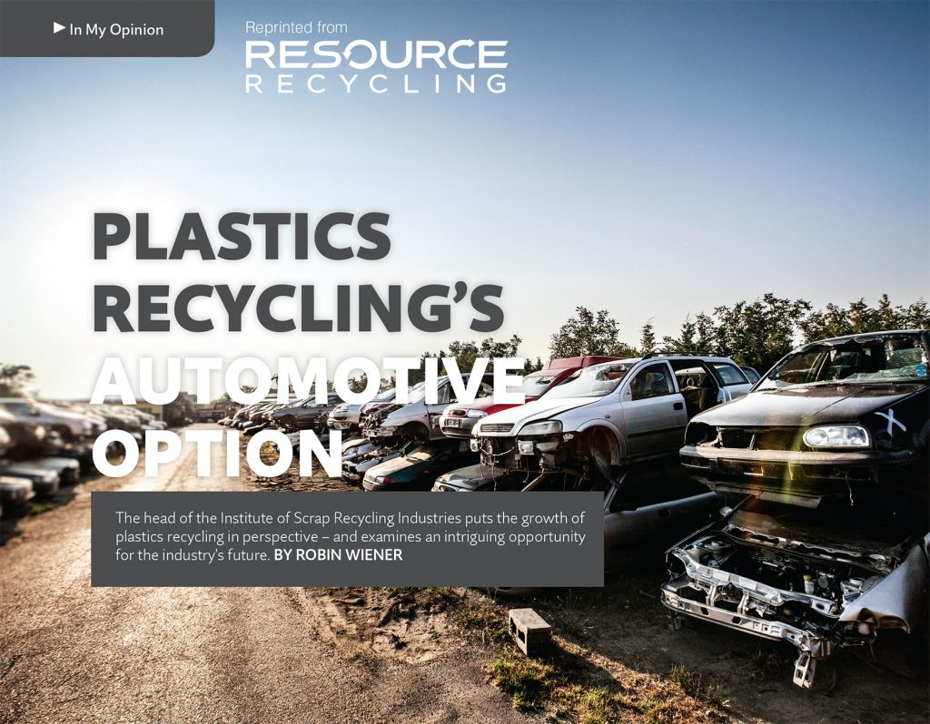 Plastics Recycling Automotive Option, March 2016, Resource Recycling