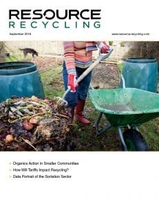 Cover of Resource Recycling Sept. 2018 magazine.