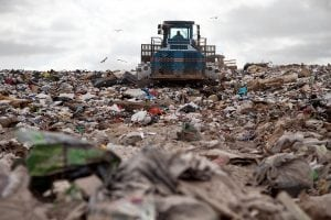 Landfill with truck
