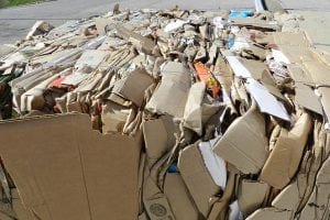 Baled cardboard to be recycled.