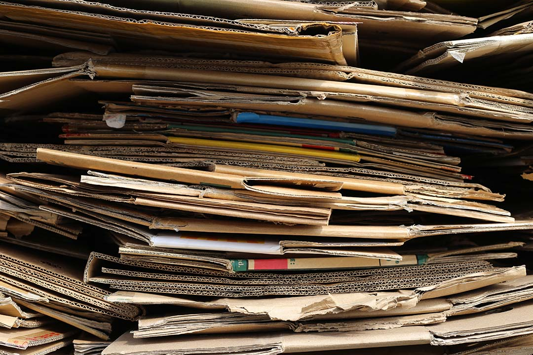 Cardboard collected for recycling.