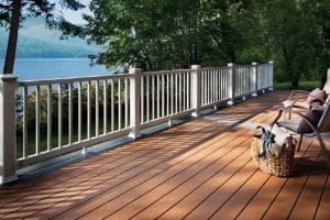 Composite lumber deck with view of water.