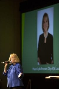 St. Louis Mayor Lyda Krewson on stage at the 2018 Resource Recycling Conference.