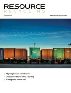 Oct. 2018 cover of Resource Recycling magazine.