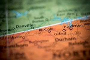 Map showing Roxboro, N.C.