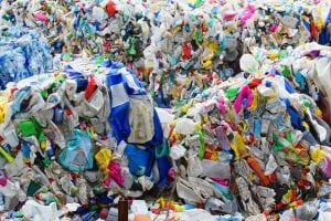 Mixed plastics baled for recycling.