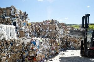 Paper bales to be recycled.