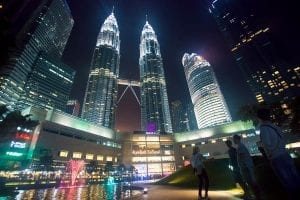 Street at night in Kuala Lumpur, Malaysia.