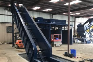 Recycling facility with new equipment installed.