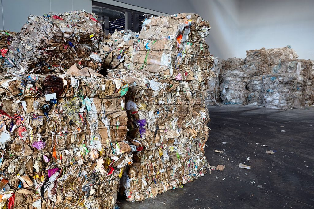 Baled paper in a recycling facility.