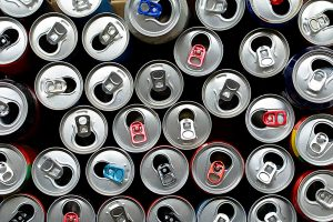 Used beverage cans viewed from above.