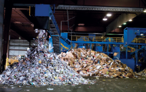 Materials piled up inside recycling facility.