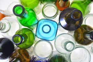 Glass containers gathered for recycling.