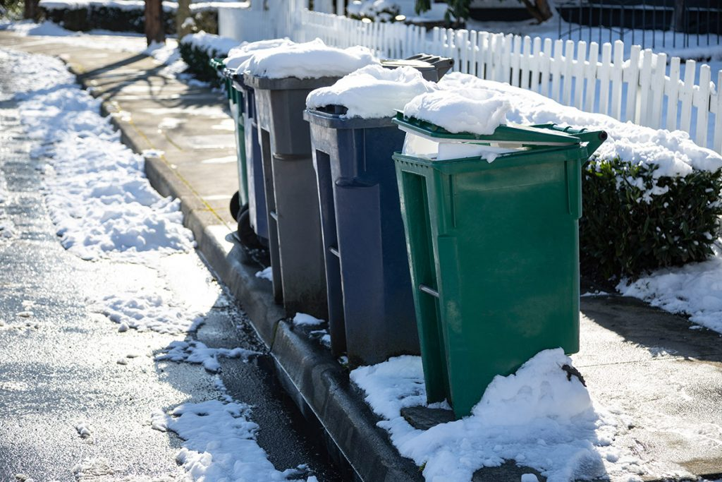 Curbside recycling and trash carts on a snowy street.