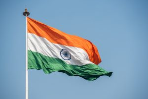 Flag of India waving in the wind.