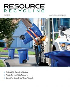 April 2019 Resource Recycling magazine cover