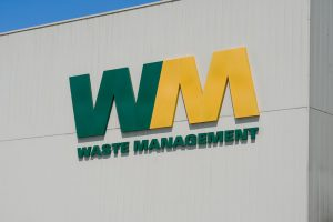 Waste Managment logo on a building.