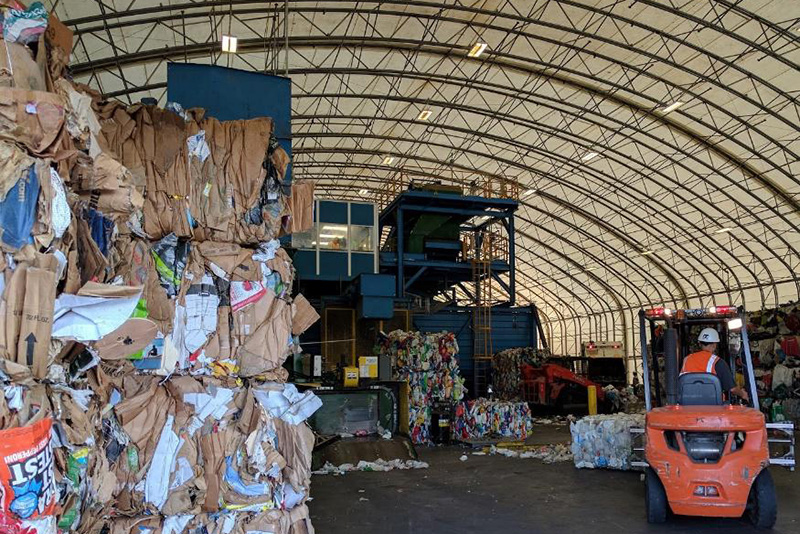 Inside the recycling facility.