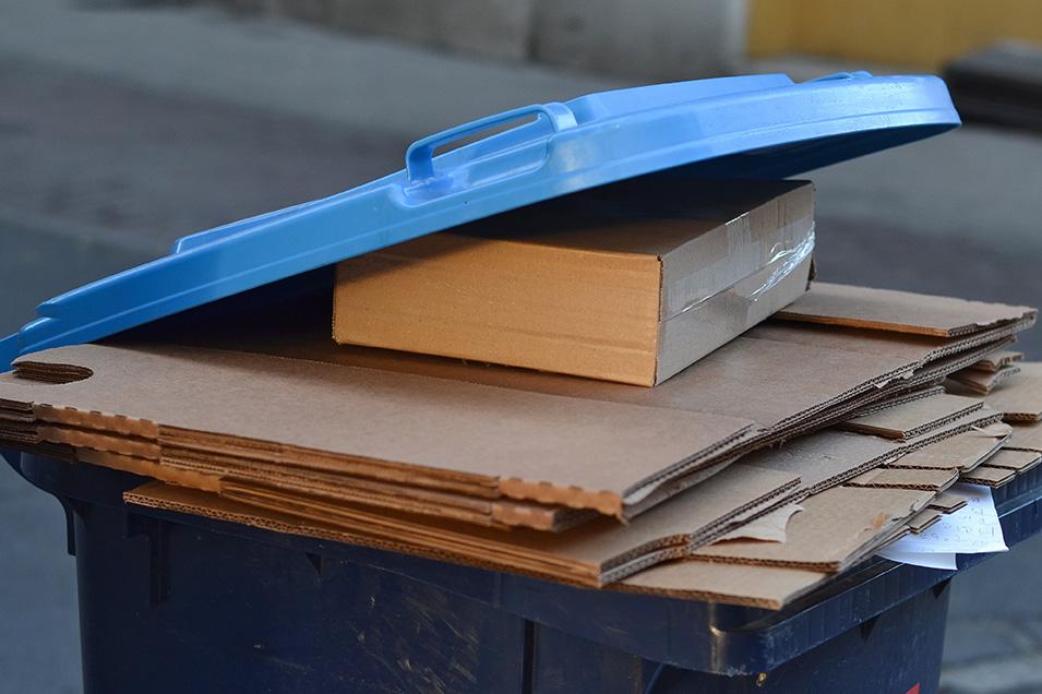 Cardboard in a recycling bin.
