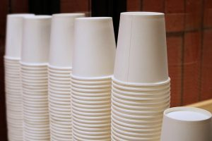 Stacks of paper coffee cups.