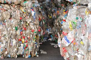 Close up of several bales of PET bottles for recycling.