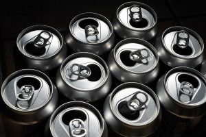 Aluminum cans for recycling.