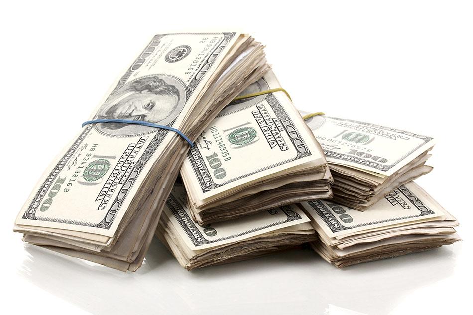 Pile of cash bundles.