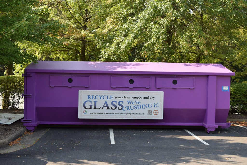 Glass recycling container in use in Virginia.