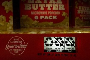 How2Recycle label on microwave popcorn box.
