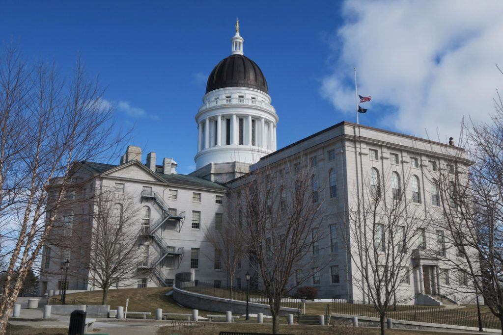 The Maine capitol building in Augusta.