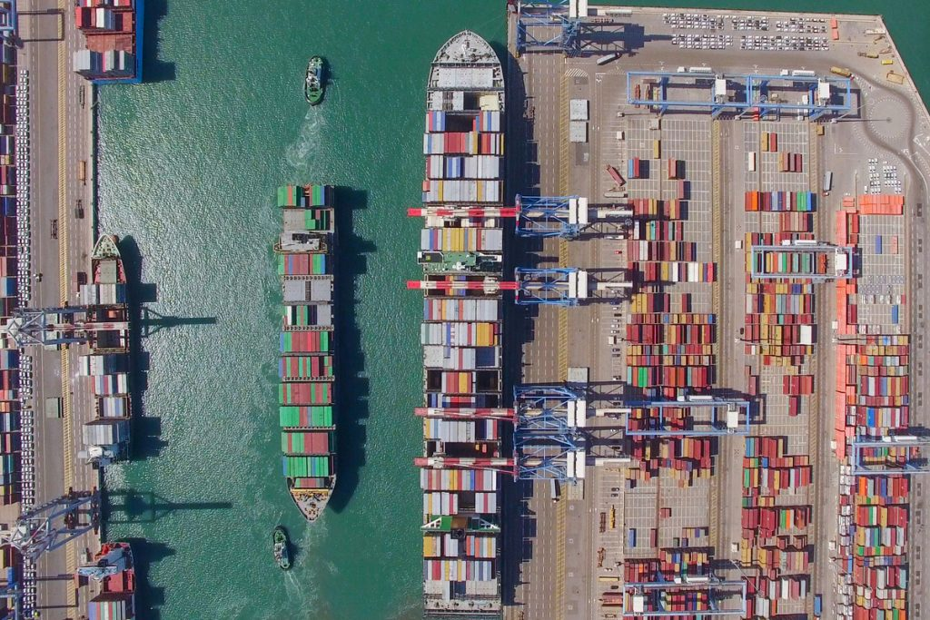 An export shipping terminal from above.