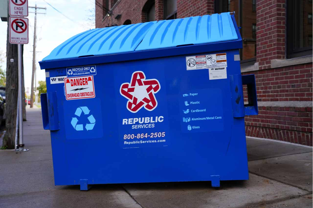 A Republic Services recycling container.