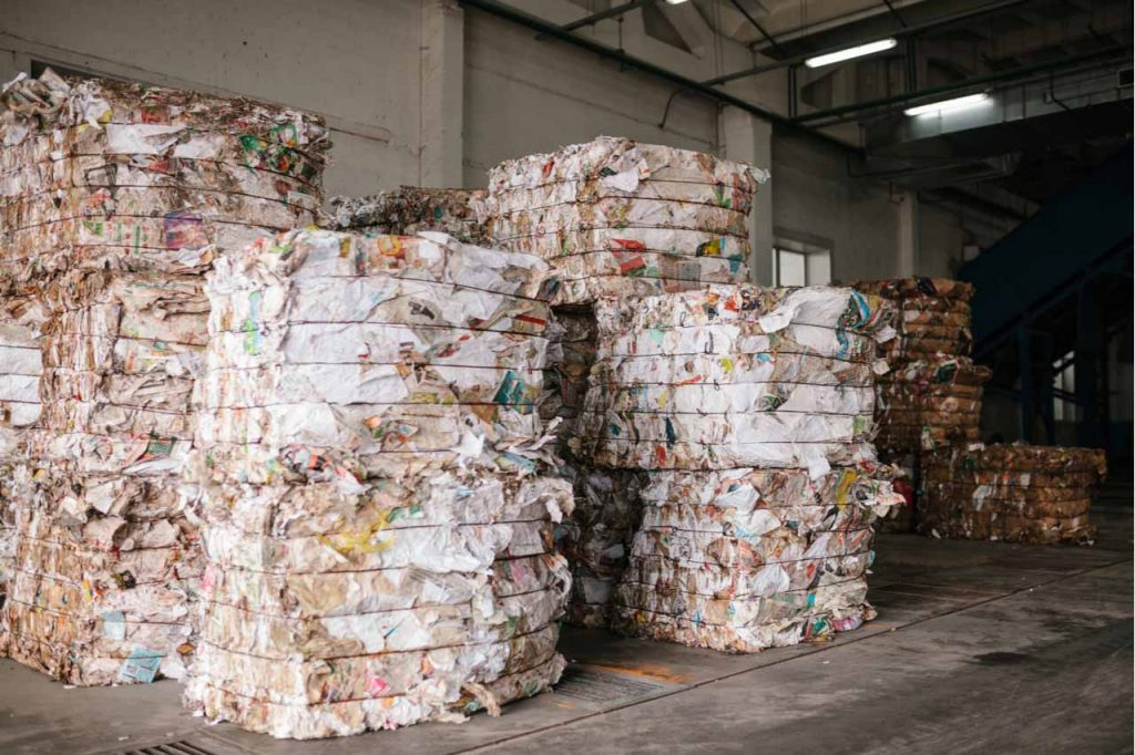 Bales of paper for recycling.