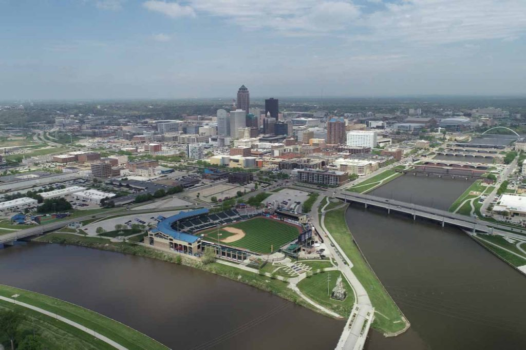Aerial view of Des Moines, Iowa.