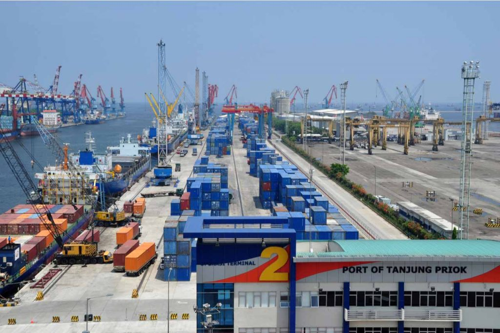 Activities in the port of Tanjung Priok, North Jakarta, Indonesia.