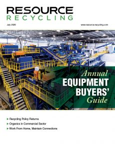 Cover of the July 2020 edition of Resource Recycling magazine.