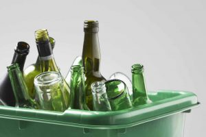 Glass collected for recycling.