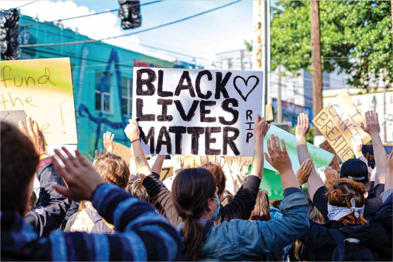 Black Lives Matter sign held during a protest march.