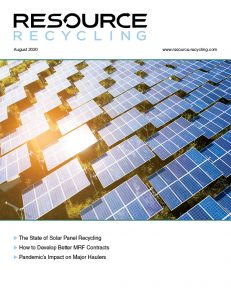 August 2020 Resource Recycling magazine cover.