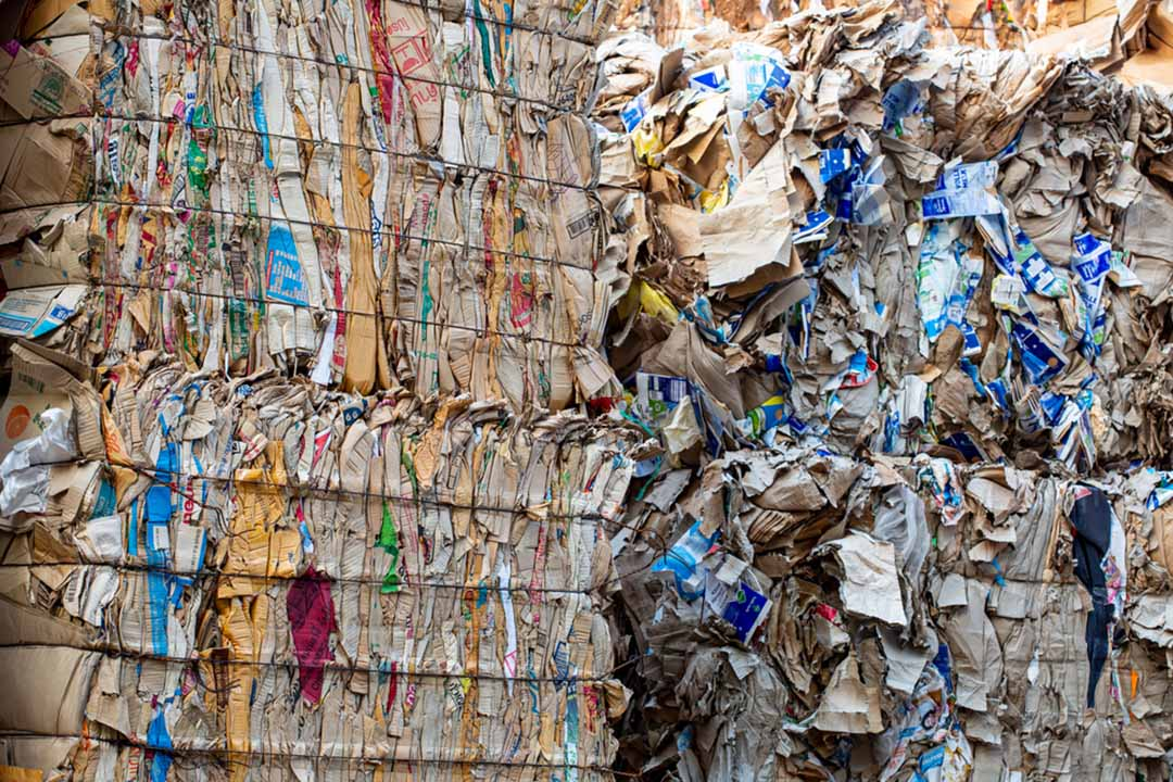 Paper bales for recycling.